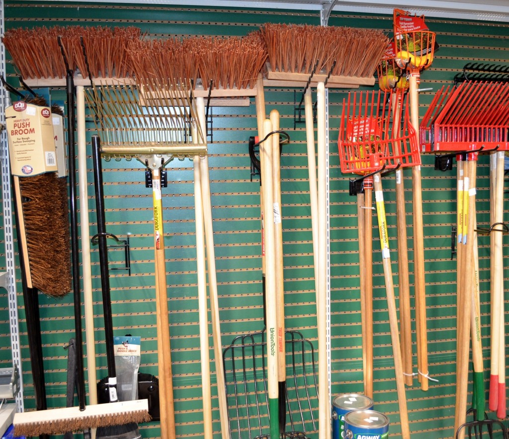 tools like brooms and pitch forks